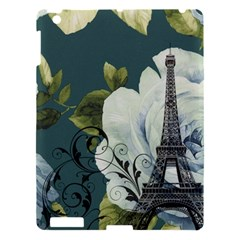 Blue Roses Vintage Paris Eiffel Tower Floral Fashion Decor Apple Ipad 3/4 Hardshell Case by chicelegantboutique