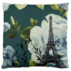 Blue Roses Vintage Paris Eiffel Tower Floral Fashion Decor Large Cushion Case (two Sided)  by chicelegantboutique
