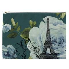 Blue Roses Vintage Paris Eiffel Tower Floral Fashion Decor Cosmetic Bag (xxl) by chicelegantboutique