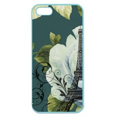 Blue Roses Vintage Paris Eiffel Tower Floral Fashion Decor Apple Seamless Iphone 5 Case (color) by chicelegantboutique