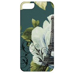 Blue Roses Vintage Paris Eiffel Tower Floral Fashion Decor Apple Iphone 5 Classic Hardshell Case by chicelegantboutique