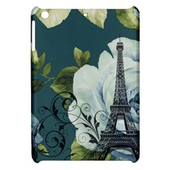 Blue Roses Vintage Paris Eiffel Tower Floral Fashion Decor Apple Ipad Mini Hardshell Case by chicelegantboutique