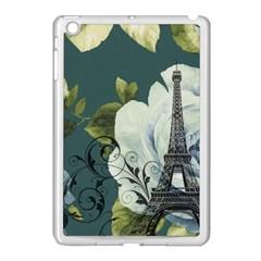 Blue Roses Vintage Paris Eiffel Tower Floral Fashion Decor Apple Ipad Mini Case (white) by chicelegantboutique