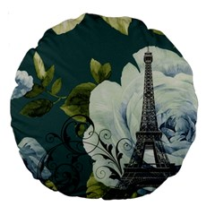 Blue Roses Vintage Paris Eiffel Tower Floral Fashion Decor 18  Premium Round Cushion  by chicelegantboutique