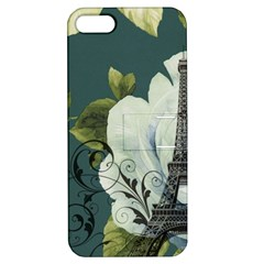Blue Roses Vintage Paris Eiffel Tower Floral Fashion Decor Apple Iphone 5 Hardshell Case With Stand by chicelegantboutique