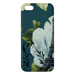 Blue Roses Vintage Paris Eiffel Tower Floral Fashion Decor Iphone 5s Premium Hardshell Case by chicelegantboutique