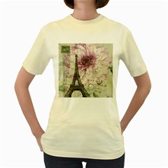 Purple Floral Vintage Paris Eiffel Tower Art  Womens  T Shirt (yellow) by chicelegantboutique