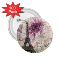 Purple Floral Vintage Paris Eiffel Tower Art 2 25  Button (100 Pack) by chicelegantboutique