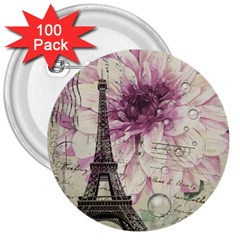 Purple Floral Vintage Paris Eiffel Tower Art 3  Button (100 Pack) by chicelegantboutique