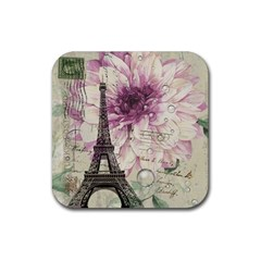 Purple Floral Vintage Paris Eiffel Tower Art Drink Coaster (square) by chicelegantboutique