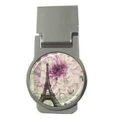 Purple Floral Vintage Paris Eiffel Tower Art Money Clip (round) by chicelegantboutique
