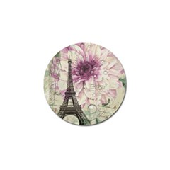 Purple Floral Vintage Paris Eiffel Tower Art Golf Ball Marker 10 Pack