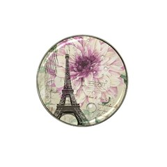 Purple Floral Vintage Paris Eiffel Tower Art Golf Ball Marker (for Hat Clip) by chicelegantboutique