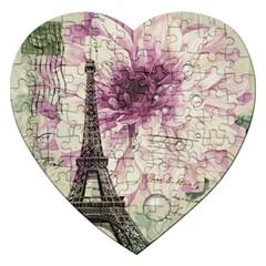 Purple Floral Vintage Paris Eiffel Tower Art Jigsaw Puzzle (heart) by chicelegantboutique