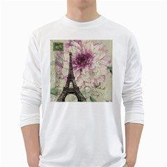 Purple Floral Vintage Paris Eiffel Tower Art Mens' Long Sleeve T Shirt (white) by chicelegantboutique