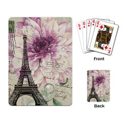 Purple Floral Vintage Paris Eiffel Tower Art Playing Cards Single Design by chicelegantboutique
