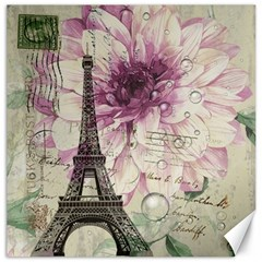 Purple Floral Vintage Paris Eiffel Tower Art Canvas 16  X 16  (unframed) by chicelegantboutique