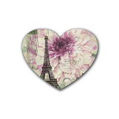 Purple Floral Vintage Paris Eiffel Tower Art Drink Coasters (heart) by chicelegantboutique