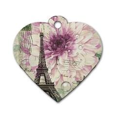 Purple Floral Vintage Paris Eiffel Tower Art Dog Tag Heart (one Sided)  by chicelegantboutique