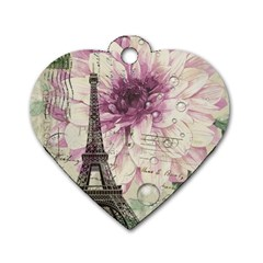 Purple Floral Vintage Paris Eiffel Tower Art Dog Tag Heart (two Sided) by chicelegantboutique