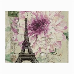Purple Floral Vintage Paris Eiffel Tower Art Glasses Cloth (small, Two Sided) by chicelegantboutique