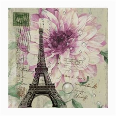 Purple Floral Vintage Paris Eiffel Tower Art Glasses Cloth (medium, Two Sided)