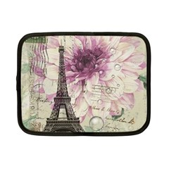 Purple Floral Vintage Paris Eiffel Tower Art Netbook Case (small) by chicelegantboutique