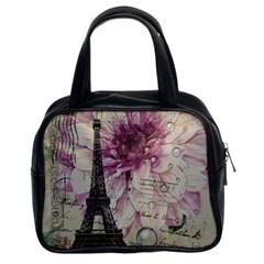 Purple Floral Vintage Paris Eiffel Tower Art Classic Handbag (two Sides) by chicelegantboutique