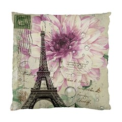 Purple Floral Vintage Paris Eiffel Tower Art Cushion Case (single Sided)