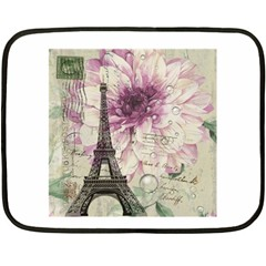 Purple Floral Vintage Paris Eiffel Tower Art Mini Fleece Blanket (two Sided) by chicelegantboutique