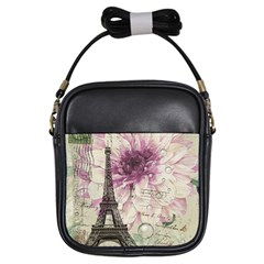 Purple Floral Vintage Paris Eiffel Tower Art Girl s Sling Bag by chicelegantboutique