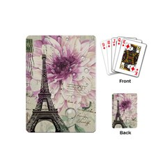 Purple Floral Vintage Paris Eiffel Tower Art Playing Cards (mini) by chicelegantboutique