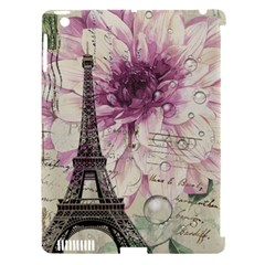 Purple Floral Vintage Paris Eiffel Tower Art Apple Ipad 3/4 Hardshell Case (compatible With Smart Cover) by chicelegantboutique