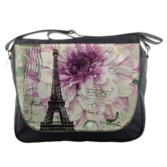 Purple Floral Vintage Paris Eiffel Tower Art Messenger Bag by chicelegantboutique