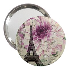 Purple Floral Vintage Paris Eiffel Tower Art 3  Handbag Mirror by chicelegantboutique