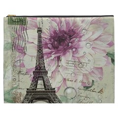 Purple Floral Vintage Paris Eiffel Tower Art Cosmetic Bag (XXXL) by chicelegantboutique