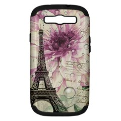 Purple Floral Vintage Paris Eiffel Tower Art Samsung Galaxy S Iii Hardshell Case (pc+silicone) by chicelegantboutique