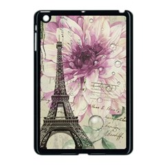 Purple Floral Vintage Paris Eiffel Tower Art Apple Ipad Mini Case (black) by chicelegantboutique