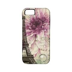 Purple Floral Vintage Paris Eiffel Tower Art Apple Iphone 5 Classic Hardshell Case (pc+silicone) by chicelegantboutique