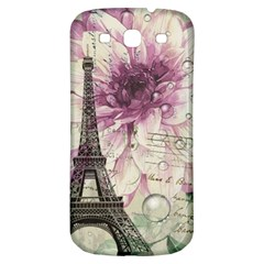 Purple Floral Vintage Paris Eiffel Tower Art Samsung Galaxy S3 S Iii Classic Hardshell Back Case by chicelegantboutique