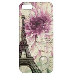 Purple Floral Vintage Paris Eiffel Tower Art Apple Iphone 5 Hardshell Case With Stand by chicelegantboutique