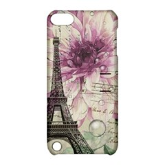 Purple Floral Vintage Paris Eiffel Tower Art Apple Ipod Touch 5 Hardshell Case With Stand by chicelegantboutique