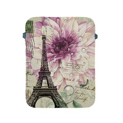 Purple Floral Vintage Paris Eiffel Tower Art Apple Ipad 2/3/4 Protective Soft Case