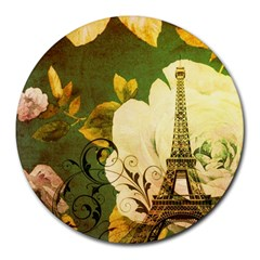 Floral Eiffel Tower Vintage French Paris 8  Mouse Pad (round)