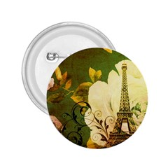 Floral Eiffel Tower Vintage French Paris 2 25  Button by chicelegantboutique
