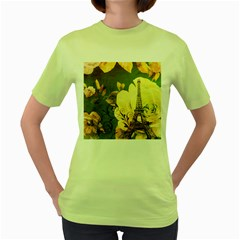 Floral Eiffel Tower Vintage French Paris Womens  T Shirt (green)