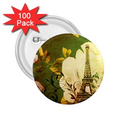 Floral Eiffel Tower Vintage French Paris 2 25  Button (100 Pack)