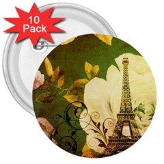 Floral Eiffel Tower Vintage French Paris 3  Button (10 Pack) by chicelegantboutique