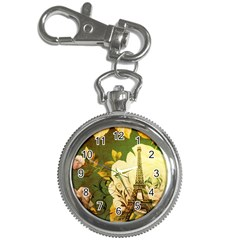 Floral Eiffel Tower Vintage French Paris Key Chain & Watch by chicelegantboutique