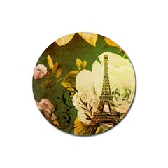 Floral Eiffel Tower Vintage French Paris Drink Coasters 4 Pack (round) by chicelegantboutique
